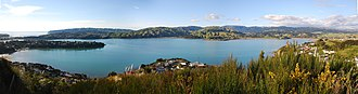 Porirua Harbour - The Pauatahanui arm of the Porirua Harbour with the entrance at the extreme left and Pauatahanui at the extreme right