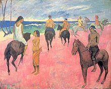 Tableau de Gauguin montrant des cavaliers et cavalières marquisiens, sur une plage de couleur rose.