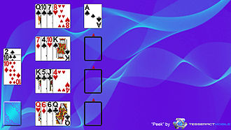 """Osmosis (solitaire) - This image is a screenshot of the solitaire game """"Peek"""".  More information about this game or this photo can be found on this website: http://www.tesseractmobile.com/"""
