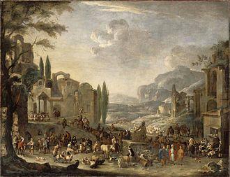 Peeter van Bredael - Market in Italy amid Fantastic Ruins