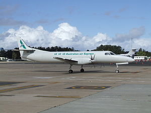 Fairchild Swearingen Metroliner - VH-EEO, a purpose-built SA227-AT Expediter freighter (without cabin windows) in service with Pel-Air, but painted in the Australian air Express livery c. 2007
