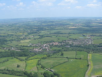 Bath and North East Somerset - Aerial photo of Pensford with the viaduct in the foreground
