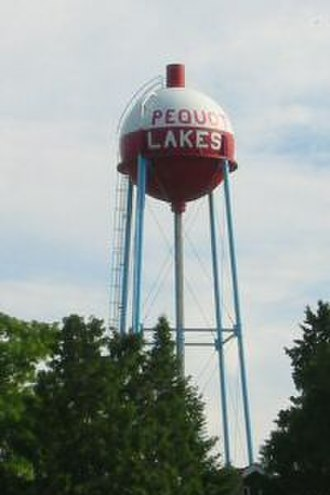 Pequot Lakes, Minnesota - The water tower in Pequot Lakes is decorated like a fishing bobber.