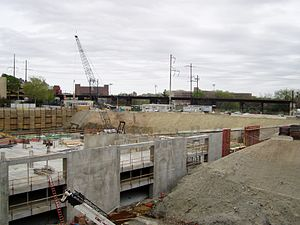 Philadelphia Convention Hall and Civic Center - Foundations of the Perelman Center for Advanced Medicine being built after the demolition of the Philadelphia Civic Center