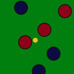 Aquí hay dos bolas del equipo rojo más cerca del boliche que cualquier bola del equipo azul. El equipo rojo gana dos puntos.