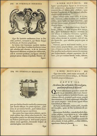 Silvester Petra Sancta - Description of hatching system (De symbolis heroicis, 1634)