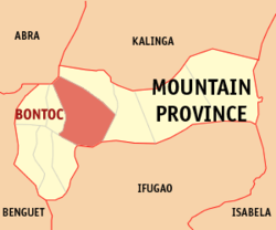 Map of Mountain Province showing the location of Bontoc
