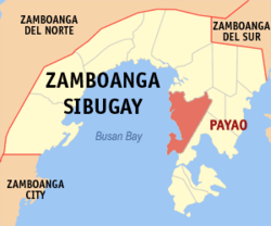 Map of Zamboanga Sibugay showing the location of Payao.