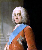 A portrait painting of the Earl of Chesterfield, wearing clothes typical of a mid-eighteenth century British aristocrat.