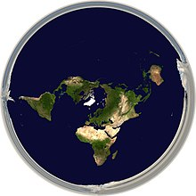Modern flat earth societies wikipedia projections of the sphere like this one have been co opted as images of the flat earth model depicting antarctica as an ice wall surrounding a disk shaped gumiabroncs Gallery