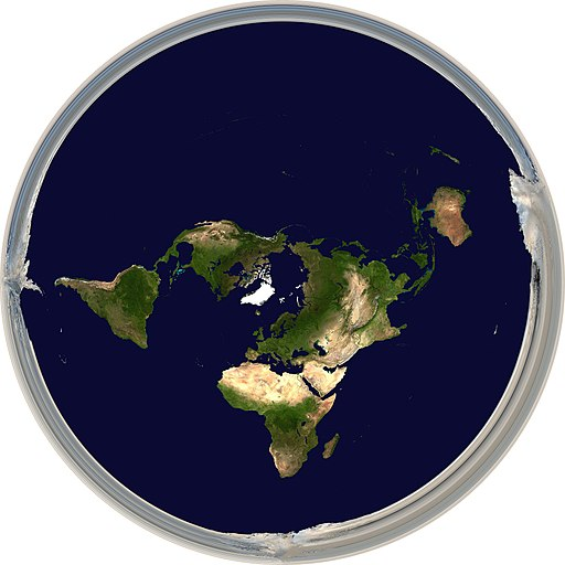 Physical world map in Hellerick triaxial boreal projection - shallow