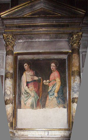 Girolamo Siciolante da Sermoneta - Girolamo Siciolante da Sermoneta, Saint Lucia and Saint Agathe, mural in the Basilica Santa Maria sopra Minerva
