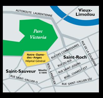 Notre-Dame-des-Anges, Quebec - Image: Plan Hôpital Général de Québec