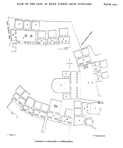 Plan of Bava Pyara Caves, Junagadh, Gujarat, India.png