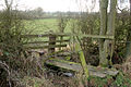 Plank bridge and stile on the footpath from Barby to Braunston - geograph.org.uk - 1640987.jpg