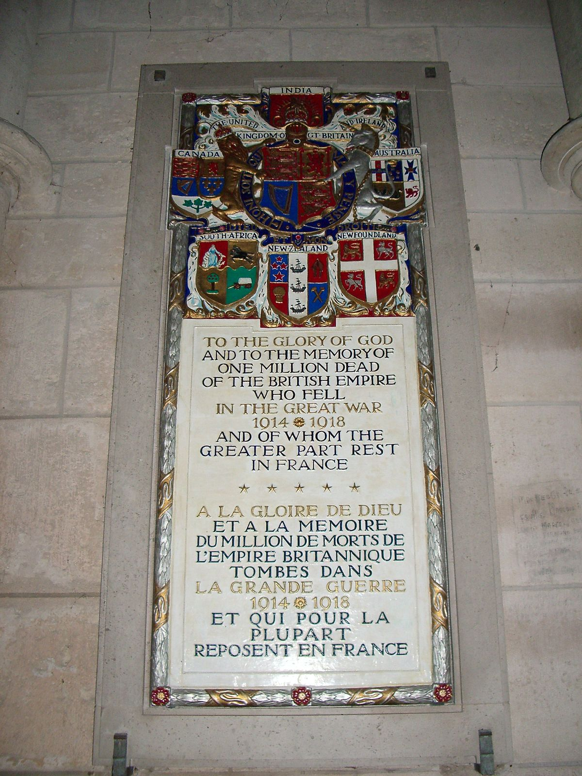 Memorial tablets to the British Empire dead