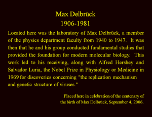 Max Delbrück - Image: Plaque in Buttrick Hall