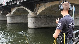 Police diving - Police diving operation in a river