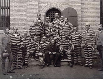Mormonism and polygamy - Portrait of polygamists in prison, at the Utah Penitentiary, including George Q. Cannon in 1889, arrested under the Edmunds–Tucker Act.