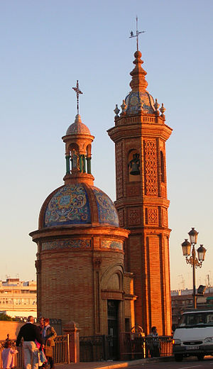 Triana, Seville - The Moorish Revival Chapel of El Carmen next to the Triana bridge