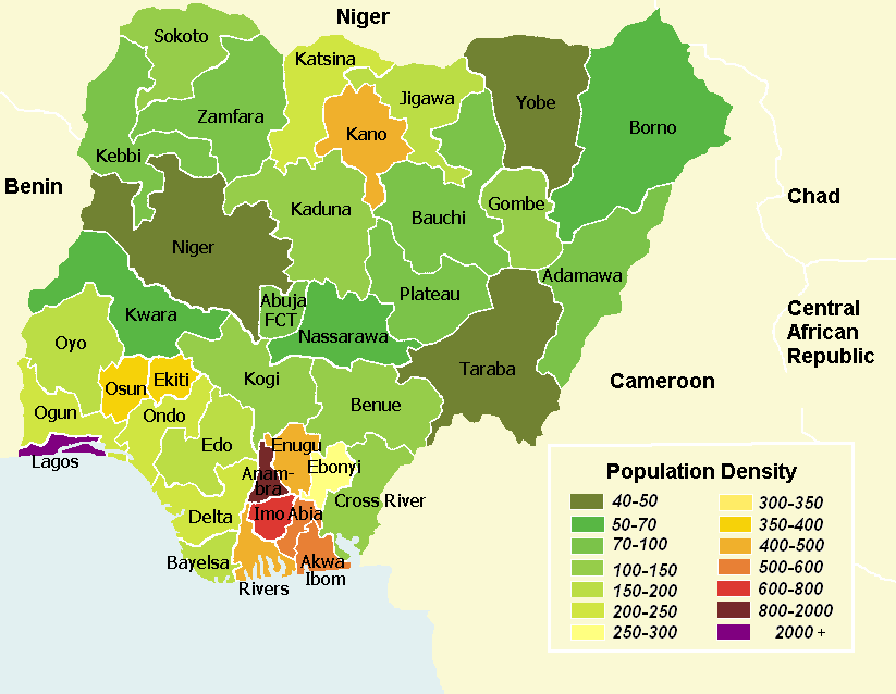 Population density map of Nigerian states - English