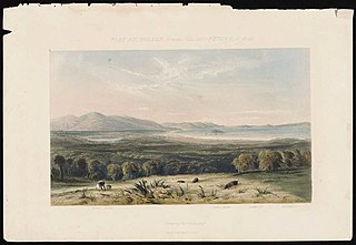 Port Nicholson from the hills above Pitone in 1840