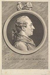 Augustin deSaint-Aubin nach Charles-Nicolas Cochin fils: Beaumarchais zur Zeit seines Prozesses gegen Goëzman (1773). (Quelle: Wikimedia)