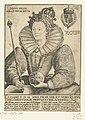 Portret van Elizabeth I Tudor, ten halven lijve Posvi Devm Adiut Orem Mevm (titel op object), RP-P-1951-822.jpg