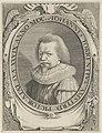 Portret van de Amsterdamse schilder Johannes Torrentius op 39-jarige leeftijd. Links- en rechtsonderaan het cartouche schilders- en tekenattributen. NL-HlmNHA 53012631.JPG