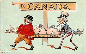 "Money bag - Postcard (postmarked 1907) depicting John Bull and Uncle Sam under sign ""To Canada"" bringing in sacks of money ""for investment in Canada"""