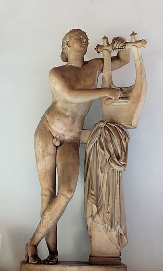 Lyre - Pothos (Desire), restored as Apollo Citharoedus during the Roman era (1st or 2nd century AD, based on a Greek work ca. 300 BC); the cithara strings are not extant