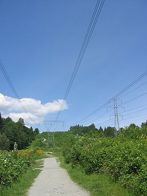 BC Hydro - BC Hydro high voltage transmission lines in Coquitlam.