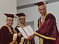 Pranab Mukherjee presenting D.Sc. (Honoris Causa) Degree to Prof. Goverdhan Mehta at the Second Convocation of the Indian Institute of Science Education and Research at Bhopal.jpg
