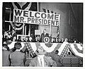 President Lyndon B. Johnson gives an election speech in Boston. In the box with the president are Mayor John F. Collins, U.S. Senator Leverett Saltonstall, and House of Representatives member Tip O'Neill (13847274353).jpg