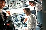 President Rodrigo Roa Duterte joins the pilots inside the cockpit of Philippine Airlines chartered flight PR001 as they head to New Delhi.jpg
