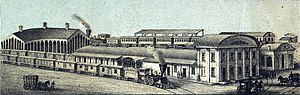 President Street Station - The President Street Station and its eastern yards and shops of the Philadelphia, Wilmington and Baltimore Railroad portrayed in 1869, twenty years after construction