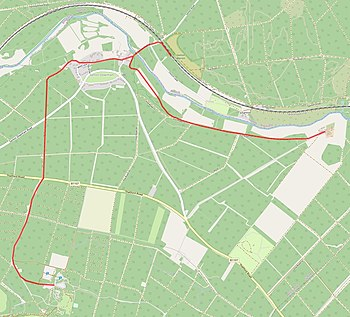 Presumed route of the Santon Downham tramway superimposed onto OpenStreetMap map.jpg