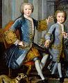 Prince Honoré (future Prince Honoré III of Monaco) with his brother Prince François, Count of Thorigny from The Family of the Duke of Valentinois by Pierre Gobert in 1733.jpg