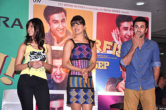 Barfi! - Ileana D'cruz, Priyanka Chopra and Ranbir Kapoor at a promotional event.