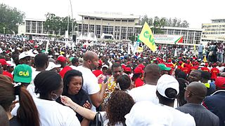 A pro-constitutional reform rally in Brazzaville during October 2015. The constitution's controversial reforms were subsequently approved in a disputed election which saw demonstrations and violence.