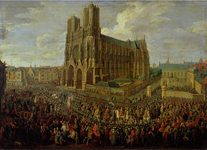 French Crown Jewels - Procession of Louis XV of France after his coronation in Notre-Dame de Reims, traditional location of the coronations of Kings of France.