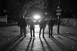 Project X (2012 film) - Youths standing in front of police in Haren, Netherlands during a Project X inspired party in 2012, called Project X Haren.