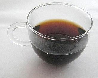 Pu'er tea - Shóu pu'er tea brewed from a brick
