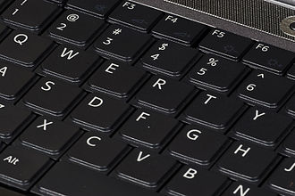 QWERTY - A laptop computer keyboard using the QWERTY layout