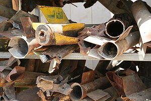 2008 Israel–Hamas ceasefire - The remnants of Qassam rockets that were fired from the Gaza Strip at Israel.