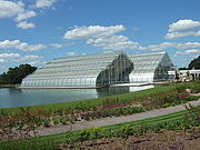 A modern greenhouse in Wisley Garden, England, made from float glass