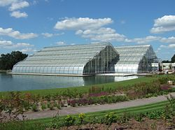 A modern glasshouse in RHS Wisley