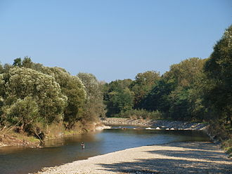 Myślenice - Myślenice-Zarabie, the River Raba