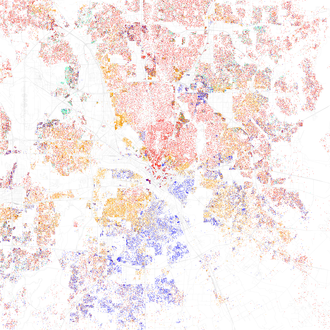 Map of racial distribution in Dallas, 2010 U.S. Census. Each dot is 25 people: White, Black, Asian Hispanic, or Other (yellow) Race and ethnicity 2010- Dallas (5559904955).png