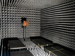 Radiation-absorbent material - An RF anechoic chamber used for EMC testing.
